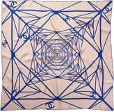 Chanel Beige & Blue Silk Scarf