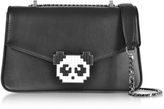 Les Petits Joueurs Black Leather Ivy Metal Panda Shoulder Bag