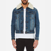 Ami Men's Shearling Collar Denim Jacket Blue