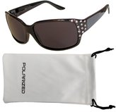 Vox Footwear Women's Polarized Sunglasses Designer Fashion Rhinestones Free Microfiber Pouch - Frame - Smoke Lens