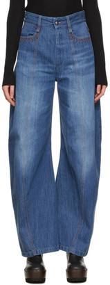 Chloé Blue Organic Cotton Wide Jeans