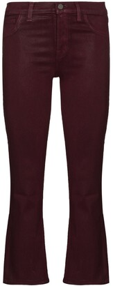 J Brand Selena mid-rise cropped flared jeans