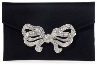 Judith Leiber Couture Bow Crystal & Satin Envelope Clutch