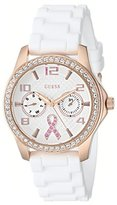 GUESS Women's U0032L3 Rose Gold-Tone Breast Cancer Awareness Watch with White Silicone Strap