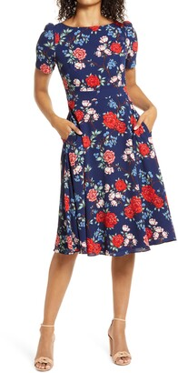 Harper Rose Floral Crepe A-Line Dress