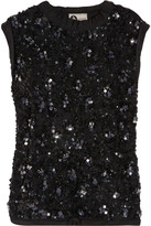 Sequined tulle and jersey top