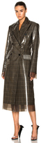 Calvin Klein Glen Plaid Wool & Matte Polyurethane Film Trench Coat in Brown,Checkered & Plaid.