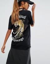 Criminal Damage Oversized T-Shirt With Back Tiger Print