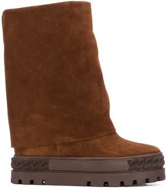 Casadei Suede Folded Boots