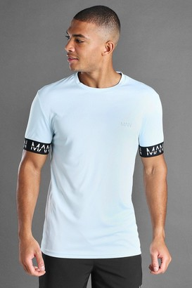 boohoo Mens Blue MAN Active Muscle Fit T-Shirt With MAN Cuff Detail, Blue
