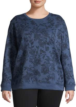 Karen Scott Plus Floral-Print Cotton-Blend Sweatshirt