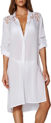 Vix Paula Hermanny Ada Embroidered Lace Cover-Up Shirtdress