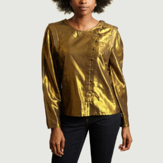 Polder Shiny Bronze Cotton and Lurex Beck Top - bronze | cotton and lurex | 36 - Bronze