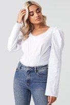 NA-KD Round Neck Puff Sleeve Blouse