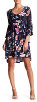 Loveappella Bell Sleeve Floral Print Babydoll Dress
