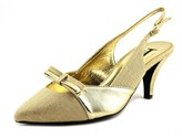 J. Renee J0006 Women Pointed Toe Synthetic Gold Slingback Heel.