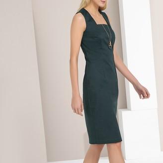 Anne Weyburn Plain Stretch Cotton Satin Dress