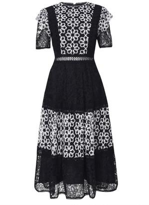 True Decadence Black Lace Organza Mix Midi Dress