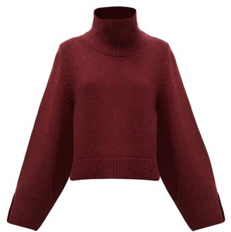 KHAITE Marion Roll-neck Cashmere Sweater - Womens - Burgundy