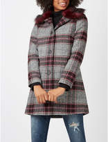 George Checked Coat with Faux Fur Collar
