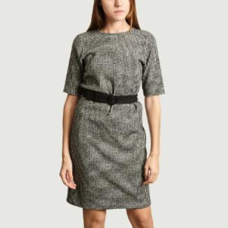 agnès b. Black Wool Houndstooth Jacquard Mute Dress - 1   wool   black - Black/Black
