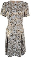 Vince Camuto Women's Short Sleeve Printed Fit and Flare Dress