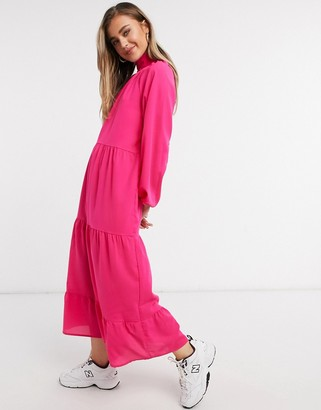 Lola May trapeze tiered maxi dress with tie neck in hot pink