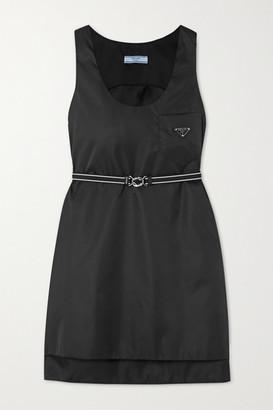 Prada Belted Appliqued Nylon Mini Dress - Black