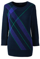 Classic Women's Tall Supima 3/4 Sleeve Jacquard Sweater-Radiant Navy Plaid