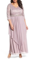 Alex Evenings Plus Size Women's Embellished Lace & Tiered Chiffon Gown