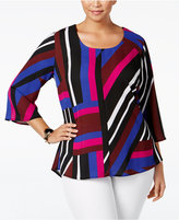 NY Collection Plus Size Striped Handkerchief-Back Top