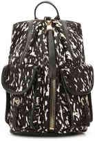 Women's Tammi Cargo Leather Backpack -Black/White Calf Hair