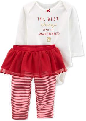 Carter's Carter Baby Girls 2-Pc. Holiday Bodysuit & Tutu Pants Set