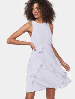 Halston Pleated Dress With Flounce Hem