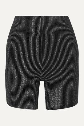 Leset LESET - Sasha Metallic Striped Stretch-knit Shorts - Silver