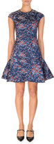 Erdem Darlina Floral-Print Cap-Sleeve Dress, Blue/Red