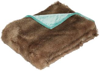 OKA Faux Fur Throw - Chinchilla/ Pale Turquoise