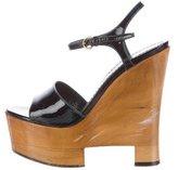 Saint Laurent Patent Leather Ankle Strap Sandals