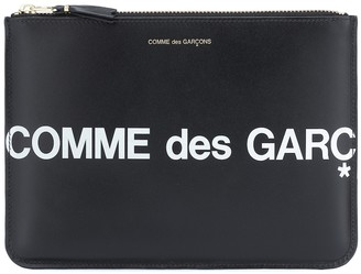 Comme des Garcons Huge Logo Large leather pouch