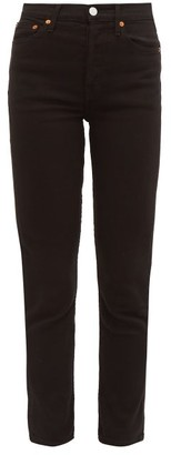 RE/DONE High Rise Ankle Crop Jeans - Womens - Black