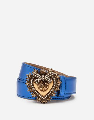 Dolce & Gabbana Laminated Leather Devotion Belt