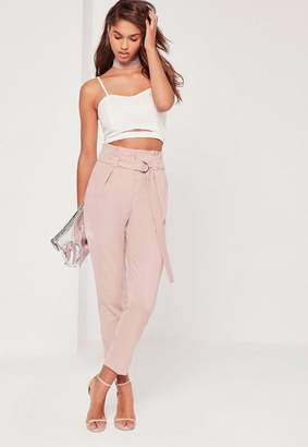 Missguided Tall Pink Paperbag Waist Cigarette Pants