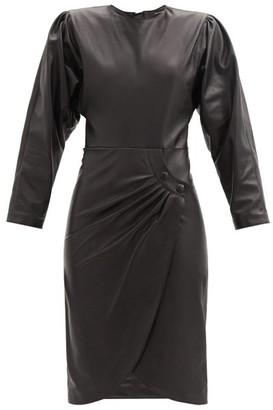 Isabel Marant Batiki Gathered-leather Tulip-hem Dress - Black