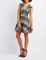 Charlotte Russe Velvet Patterned Skater Dress