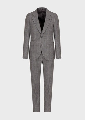 Emporio Armani Slim-Fit, Single-Breasted Plaid Suit In Virgin Cheviot Wool