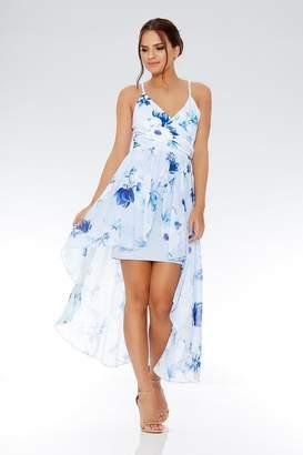 Quiz Pale Blue Floral Chiffon Dip Hem Dress
