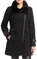 Trina Turk 'Aubree' Wool Blend Coat with Detachable Genuine Shearling Trim