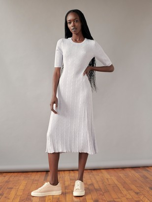 White + Warren Cotton Chevron Stitch Midi Dress