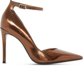 Dune Clementine metallic semi d'Orsay courts