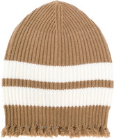 MSGM striped frayed knitted beanie - men - Polyamide/Viscose/Cashmere/Wool - One Size